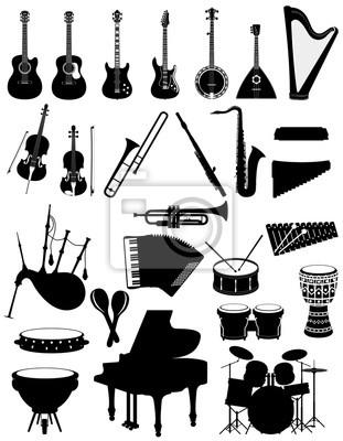Plakat Instrumenty muzyczne zestaw ikon czarne kontury sylwetka ilustracji wektorowych czas