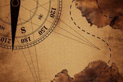 Plakat intAge Travel stare mapy i kompasu nad kolor tła, elementy tego zdjęcia dostarczone przez NASA (mapa satelitarna Antarktydy)
