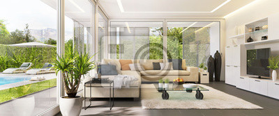 Plakat Interior design of a living room in a modern house with an open terrace and swimming pool