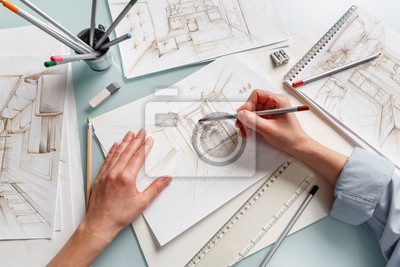 Plakat Interior designer making hand drawing pencil sketch of a bathroom