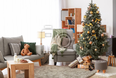 Plakat Interior of beautiful living room decorated for Christmas
