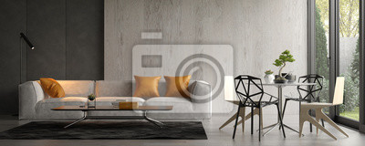 Plakat Interior of modern living room with sofa 3D rendering