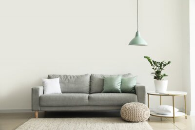 Plakat Interior of modern room with comfortable sofa