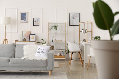 Plakat Interior of stylish living room with pictures