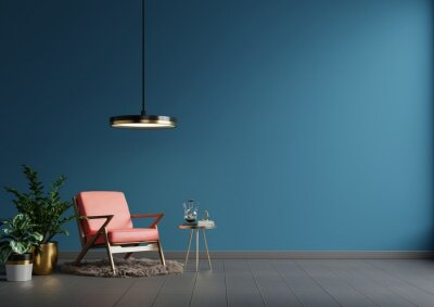 Plakat Interior wall mockup in blue tones with red leather armchair on dark wall background.