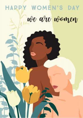 Plakat International Womens Day. Vector illustration of abstract women with different skin colors and flowers.