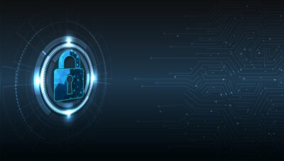 Plakat Internet security and Data prevent concept.Security Padlock lock  icon on dark blue background.Technology for online data access defense against hacker and virus.Technology security concept.