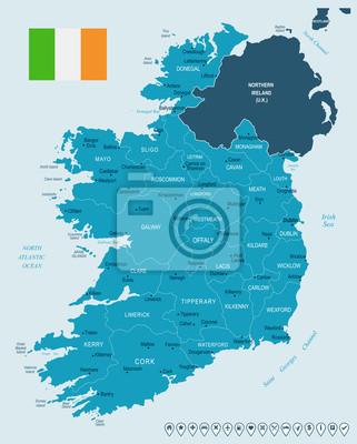 Plakat Irlandia - mapa i flaga - Szczegółowa Wektorowa ilustracja