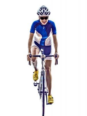 Plakat ironman triathlon sportowiec kobieta na rowerze rowerzysta