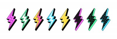 Plakat Isolated Lightning bolt signs. 5st set of flash thunderbolts with texture for zine retro culture