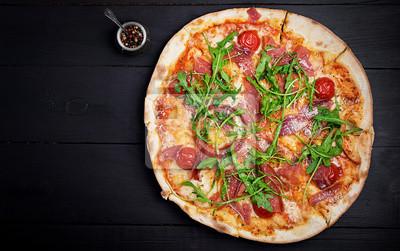 Italian pizza. Prosciutto di parma. Top view, overhead