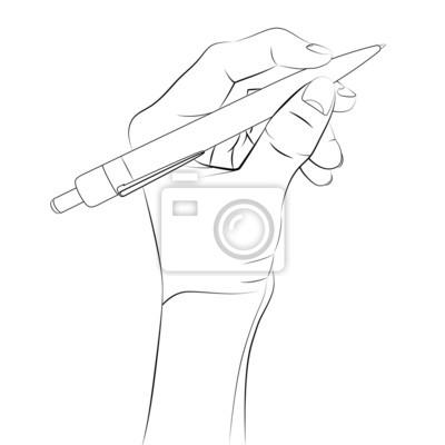2193cfa7636a9d Plakat izolowane ludzka ręka trzyma długopis szkic wektor na wymiar ...