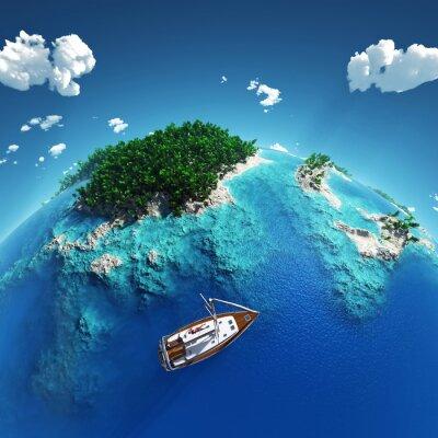 Plakat Jacht w tropikalnym raju
