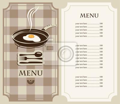 Plakat jajka smażone na patelni menu