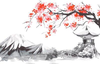 Plakat Japan traditional sumi-e painting. Fuji mountain, sakura, sunset. Japan sun. Indian ink vector illustration. Japanese picture.