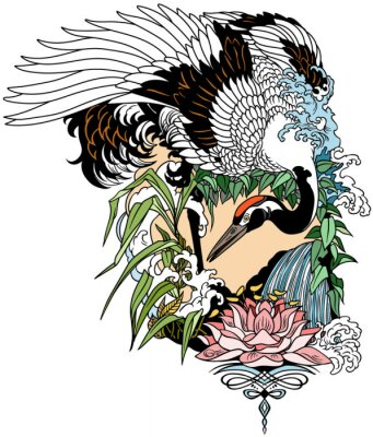 Plakat Japanese crane bird in the garden landscape with water lily flower. Tattoo. Graphic vector illustration