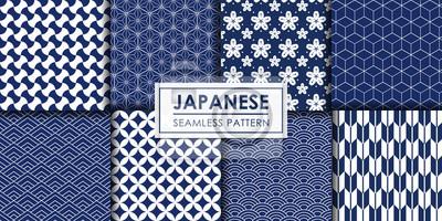 Plakat Japanese seamless pattern collection, Decorative wallpaper.