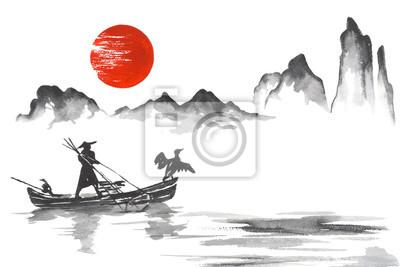 Plakat Japonia Tradycyjne japo? Skie malarstwo Sumi-e sztuki Japonia Tradycyjne japo? Skie malarstwo Sumi-e sztuki Cz? Owiek z? Odzi
