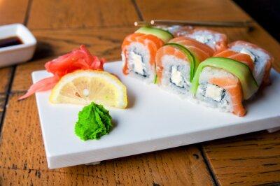 Plakat Japoński żywności - sushi i sashimi