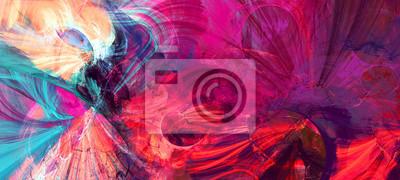 Plakat Jasne artystyczne plamy. Malarstwo abstrakcyjne tekstury kolorów. Nowoczesny futurystyczny wzór. Dynamiczne jasne tło multicolor. Fraktalna grafika do kreatywnego projektowania graficznego
