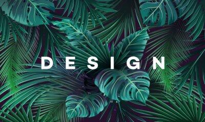 Plakat Jasne tropikalne tło z dżungli roślin. Egzotyczny wzór z liści palmowych.
