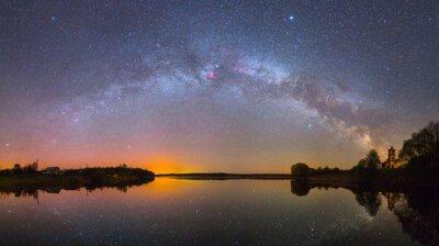 Plakat Jasny Droga Mleczna nad jeziorem w nocy (zdjęcie panoramiczne)