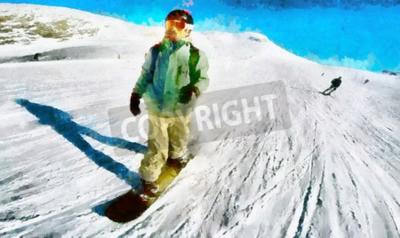 Plakat Jazda Człowiek na snowboard winter fun obraz olejny