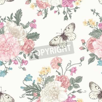 Plakat Jednolite kwiatowy wzór z bukiet kolorowych kwiatów na białym tle. Piwonie, róże, groszek, dzwon. ilustracji wektorowych.