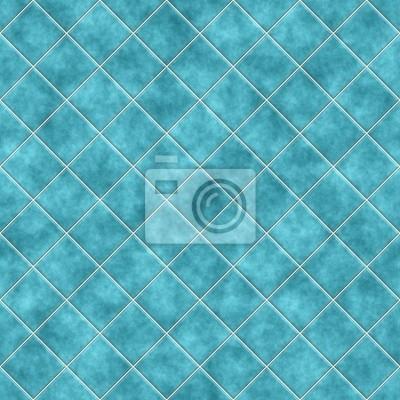 Plakat Jednolite niebieskie płytki tekstury, kuchnia lub łazienka conc