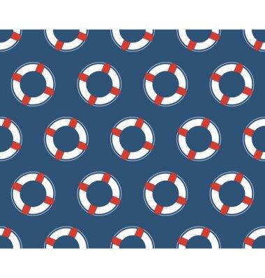Plakat Jednolite wzór morze. Biały koło ratunkowe na niebieskim tle