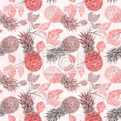 Plakat Jednolite wzór owoców. Kolorowe ananasy, gałązki akwarela na jasnym beżowym tle.