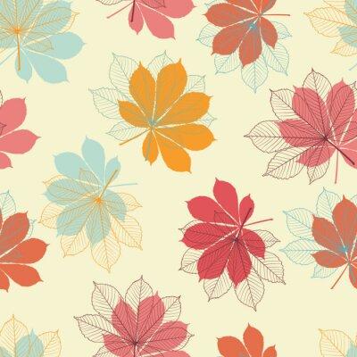 Plakat Jednolite wzór z liści jesienią w stylu retro.
