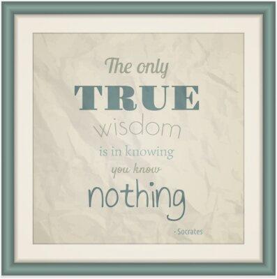 Plakat Jedyna prawdziwa mądrość jest Wiedząc, Ty nic nie wiesz