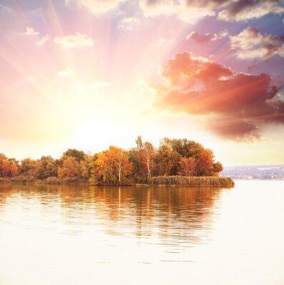 Plakat jesień jezioro