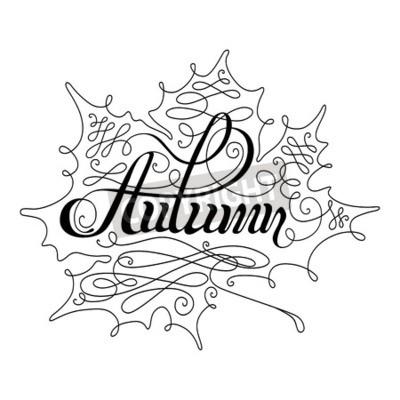 Plakat Jesień kaligrafii napis. tekstu odręcznego i rocznika liść na białym tle.