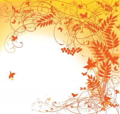Plakat jesień tle kwiatów