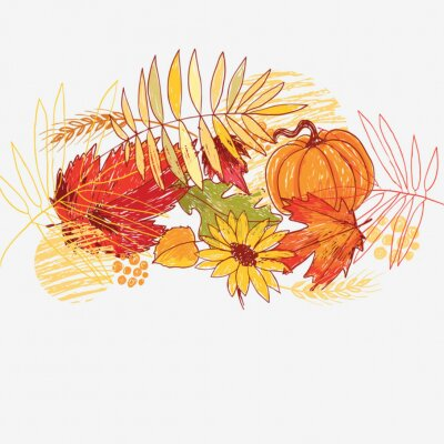 Plakat Jesienią ilustracji