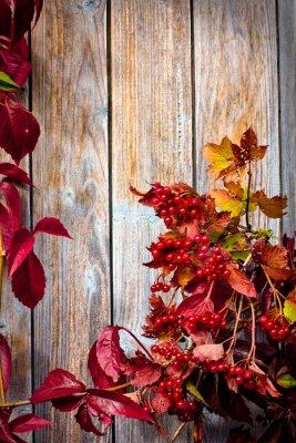 Plakat Jesienią ramki z ashberry i klon pozostawia na drewnianych płytach