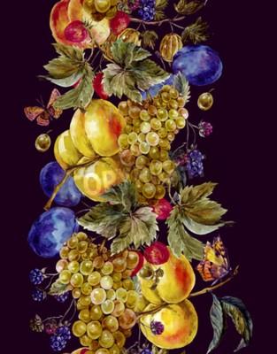 Plakat Jesienią zbiorów akwarela szwu granicy z owoców i motyli. Winogrona Plum BlackBerry Brzoskwinia Morela Truskawka agrest. Botaniczna Akwarele ilustracji