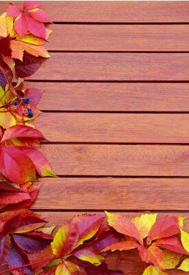 Plakat Jesienne liście na drewnianym tle z miejsca kopiowania