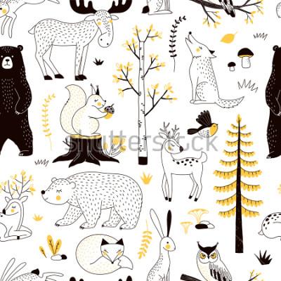 Plakat jesienny wzór lasu