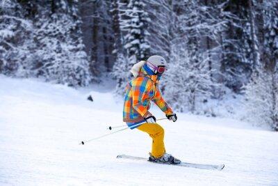 Plakat Jeździec narciarskich w ruchu górach zimą