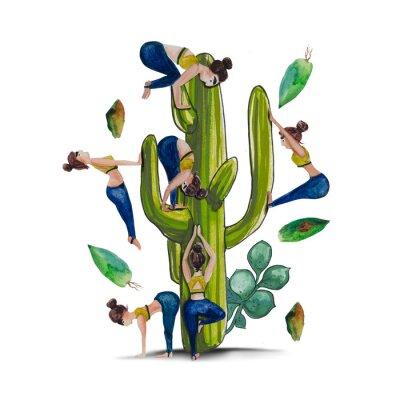Plakat Joga i kaktus