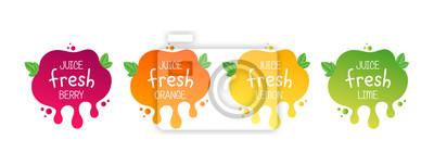 Plakat Juice fresh fruit label icon for your needs. Berry, orange, lemon, lime, healthy juice sticker design