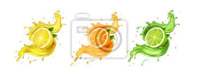 Plakat Juice splash lemon, orange, lime set. Citrus splashig fresh collection realistic vector
