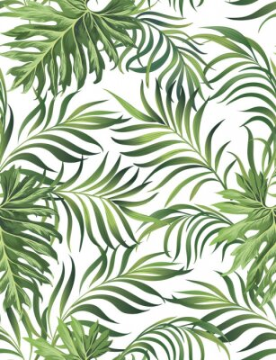 Plakat Jungle vector pattern with tropical leaves.Trendy summer print. Exotic seamless background.