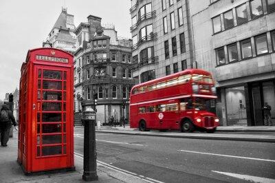 Plakat Kabina téléphonique et bus rouges à Londres (UK)