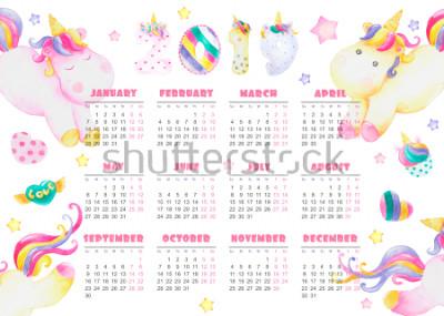 Plakat kalendarz na rok 2019 baby cute jednorożce