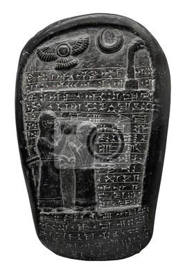 Plakat Kamień babilońskim piśmie klinowym i obrazów religijnych