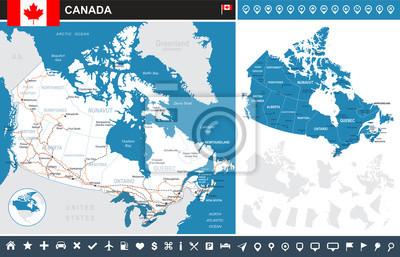 Plakat Kanada infografika mapę - bardzo szczegółowe ilustracji wektorowych z konturów gruntów, kraju i nazwy gruntów, nazwy miast, obiektów wodnych, flagi, ikony nawigacji, dróg, linii kolejowych.